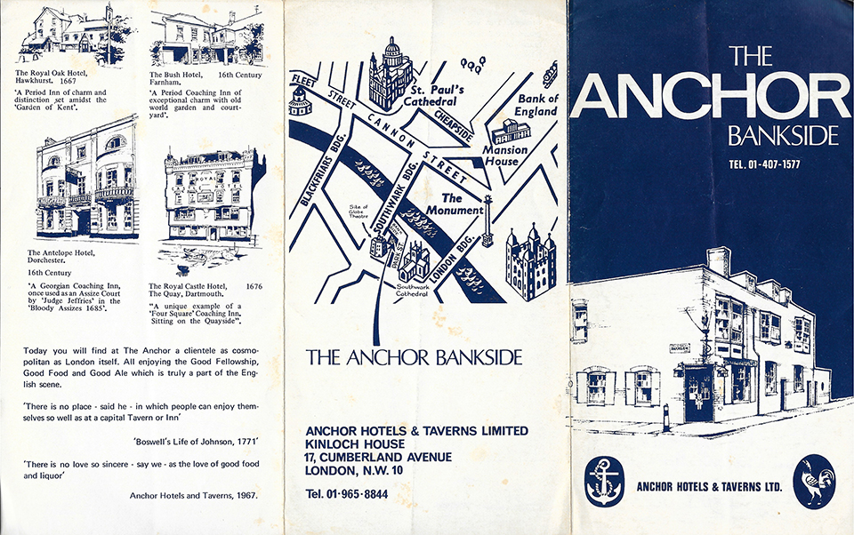The Anchor Bankside leaflet 1990's